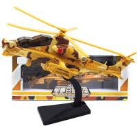 儿童飞机模型玩具合金军事武装直升机模型带有声音回力灯光男孩玩具