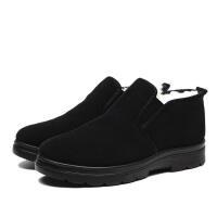 布鞋男棉鞋加绒冬季中老年老人防滑软底羊毛保暖中年爸爸鞋