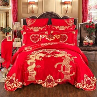 床品婚庆四件套刺绣喜被结婚床上用品被子全棉纯棉大红色被套新婚 2.0m(6.6英尺)床 十件套【送全套枕芯】