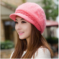 女士秋冬天时尚帽子韩版潮针织毛线帽 鸭舌贝雷帽保暖兔毛帽