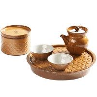 陶迷汝窑功夫茶具快客杯一壶两杯便携式旅行办公茶杯创意五行茶具