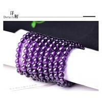 10条紫水晶单圈手链男女同款情侣式佛珠手串鸡年转运多层 10条