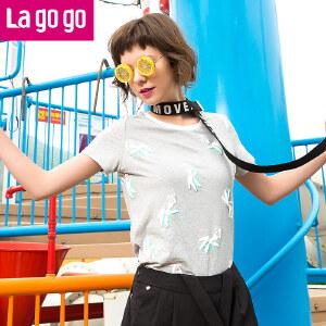 Lagogo拉谷谷2017夏新款圆领印花女士短袖韩版显瘦宽松短款T恤女