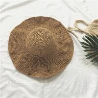 出游沙滩大檐手工草帽韩版夏天海边可折叠遮阳帽子防晒太阳帽 M(56-58cm)