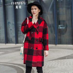 海贝2017冬装新款女装 学院风格子西装领长袖双排扣毛呢大衣外套