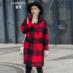 海贝 2017冬装新款女装 学院风格子西装领长袖双排扣毛呢大衣外套