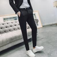 新品18春秋新款男士潮流英伦纯黑色免烫休闲裤韩版修身青年小脚西