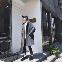 新款2018冬装新品韩版毛呢外套男纯色连帽中长款男士呢子大衣男青