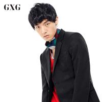 GXG西装男装 秋季男士青年潮流修身时尚休闲都市商务流行黑色西服