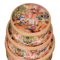 圆形收纳盒 铁皮盒饼干盒小熊一家圆罐马口铁盒三件套
