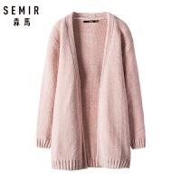 【1件5折】森马女装针织衫女2018冬季新款宽松显瘦中长款外套外搭开衫潮