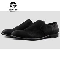 米乐猴 潮牌男士休闲皮鞋 一脚蹬男士新款皮鞋懒人鞋复古耐磨休闲鞋套脚男鞋