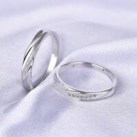 925银情侣戒指一对男女结婚对戒个性学生日韩百搭简约开口刻字
