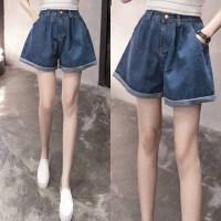 牛仔短裤女加肥加大码女装胖mm200斤韩版学生高腰显瘦卷边宽松裤