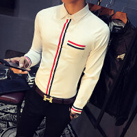 男士长袖衬衫2017春季新款韩版薄款修身潮流纯色织带门襟大码衬衣