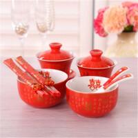 婚庆用品结婚礼物碗筷套装中式喜碗新人喜改口敬茶杯茶具婚礼对碗礼品 +对碗+龙凤筷