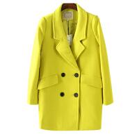 秋冬装女装 东大门纯色双排扣长袖毛呢外套女中长百搭