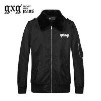 gxg.jeans男装冬季黑色印花毛领夹克外套64621485