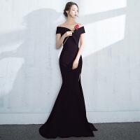晚礼服2018新款秋冬季高贵优雅黑色中长款宴会聚会小礼服连衣裙女