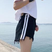 牛仔短裤女夏新款bf圆环装饰学生百搭韩版阔腿高腰毛边热裤潮
