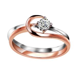 梦克拉  18K金戒指玫瑰金钻戒女款戒指 爱的足迹 女戒单戒指 可礼品卡购买