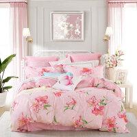 百丽丝家纺水星出品 全棉印花简约双人四件套床上用品 百合怡恋