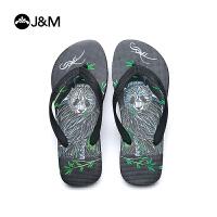 jm快乐玛丽新品设计师涂鸦男人字拖舒适沙滩夹趾凉拖鞋