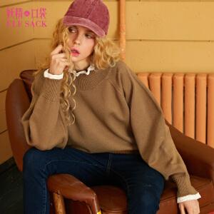 妖精的口袋冬装新款蕾丝高领毛衣女短款1749062
