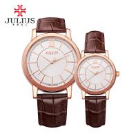 聚利时(julius)韩国石英手表 真皮表带 简约设计 男表女表情侣表 JA-808