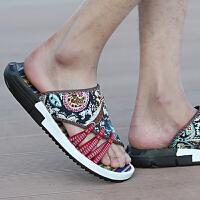 夏季个性帆布人字拖鞋男士沙滩鞋韩版潮流一字凉拖鞋休闲室外凉鞋