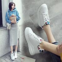 ZHR2018春季新款内增高小白鞋厚底运动鞋真皮休闲鞋平底单鞋女鞋AH30