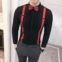 新款18秋冬男式潮流假背带大码长袖衬衫韩版修身青年酒吧KTV上班