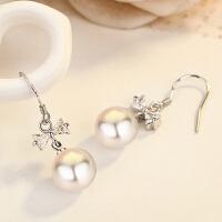 s925银简约蝴蝶耳钉女气质贝珍珠镶钻精美耳环时尚饰品