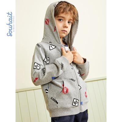 souhait水孩儿童装冬季新款男小童外套时尚印花针织外套儿童外套(80-130)