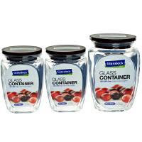 Glasslock厨房用品玻璃罐 储物罐干货罐三套装HG638 三光云彩玻璃储物罐糖果罐