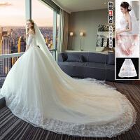 婚纱礼服2018新款韩版新娘结婚一字肩中袖蕾丝拖尾显瘦齐地婚纱