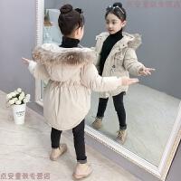 女童棉衣外套2018新款洋气儿童加厚中长款羽绒棉袄保暖冬装潮 米白色 真毛领可拆卸