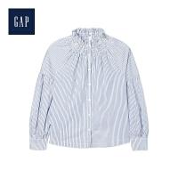 Gap官方旗舰店 女装 休闲条纹褶皱立领长袖衬衫 356252