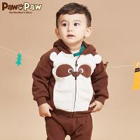 【2件2.5折 到手价:150】Pawinpaw宝英宝卡通小熊童装冬季款男宝宝外套婴幼儿连帽外套拼接