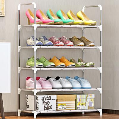索尔诺防锈钢管收纳架  架子 多功能储物 层架 5层鞋架xj-A05 安装简易 隔层易擦洗 轻松收纳15双鞋子