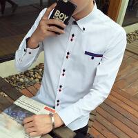 春季新款潮流拼色休闲男士拼色长袖衬衫韩版修身长袖衬衣衬衫