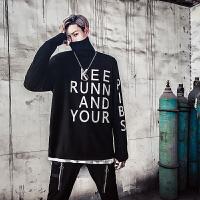 新款18秋冬男士潮流欧美风高领大码印花毛衣连手套青年韩版宽松针