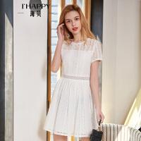 海贝2018夏季新款女装 简约圆领短袖花边镂空白色收腰连衣裙短裙