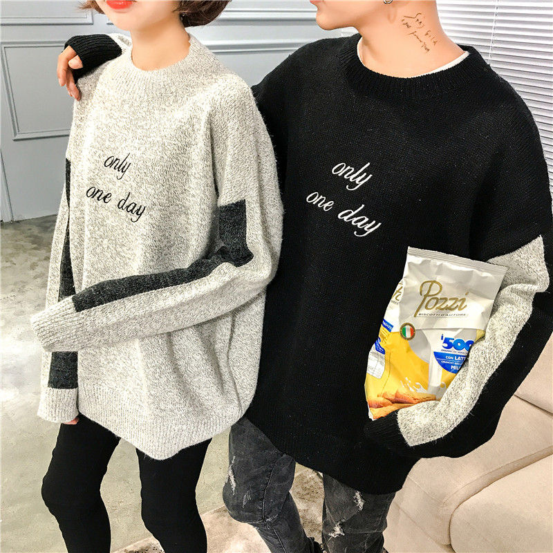 新款情侣装冬季毛衣套头韩版宽松刺绣男女针织衫男女潮流休闲拼色 发货周期:一般在付款后2-90天左右发货,具体发货时间请以与客服协商的时间为准