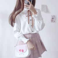 韩版小清新蝴蝶结系带木耳边灯芯绒长袖衬衣女学生甜美衬衫上衣潮