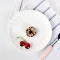陶瓷菜盘创意家用餐具纯白色简约菜碟圆形碟子早餐盘