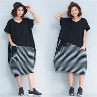 夏季新款肥胖女装假两件打底衫加肥加大码显瘦遮子胖mm宽松连衣裙