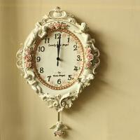 欧式田园树脂装饰品挂饰家居创意钟表浮雕天使客厅挂钟