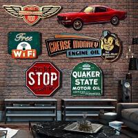 工业风复古铁皮画酒吧墙壁装饰品创意立体咖啡店铺墙上挂饰件