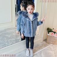 女童加绒外套2018新款儿童牛仔衣中大童冬装女孩洋气公主大衣加厚 蓝色